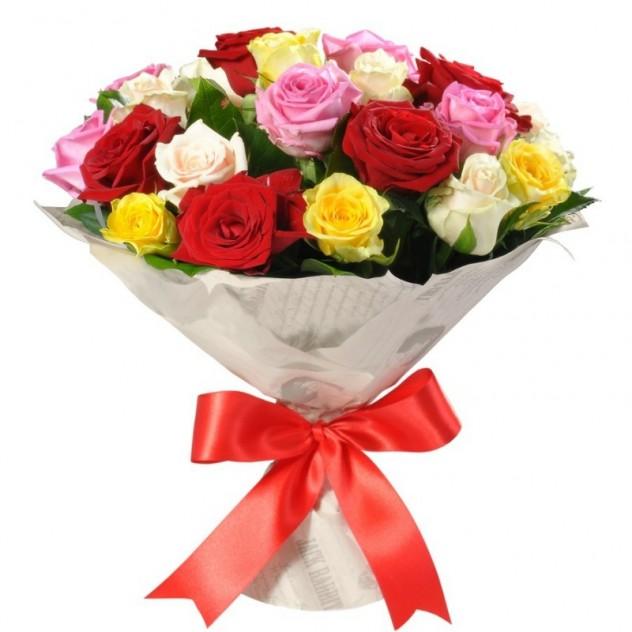 Букет из 25 разноцветных роз